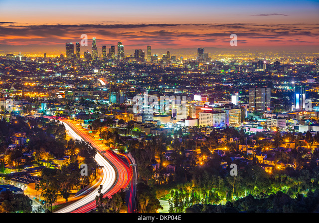 Los Angeles, California in the morning from Mulholland Drive. - Stock Image