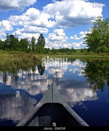 Canoe in a northern Wisconsin wetland. - Stock Image