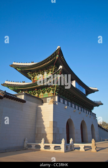 Korea, Seoul, Gyeongbokgung Palace, Gwanghwamun - the main gate of the Palace - Stock Image