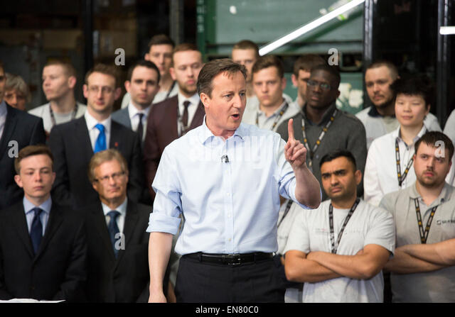 Prime Minister David Cameron visiting Sertec in Coleshill during the Election campaign. - Stock Image