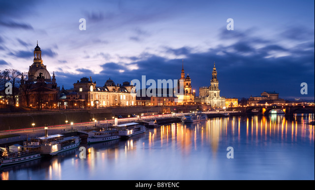 Dresden skyline viewed over the River Elbe Saxony Germany - Stock Image