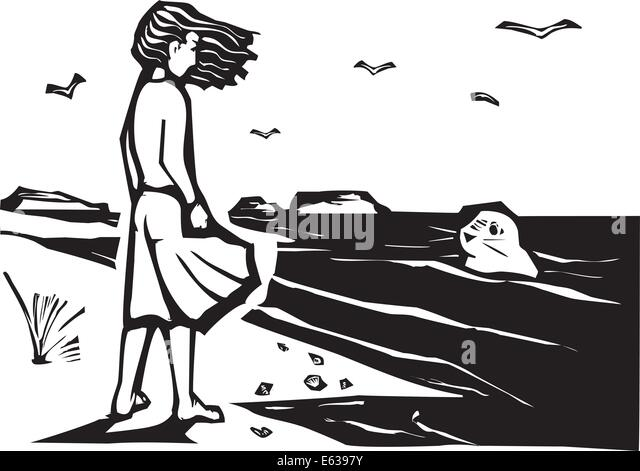 Woodcut style image of a girl on a beach watching a harbor seal in the waves. - Stock-Bilder
