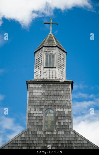 Chile, Chiloe Island, Isla Quinchao, Achao Church, oldest on Chiloe dating to 1767 - Stock Image