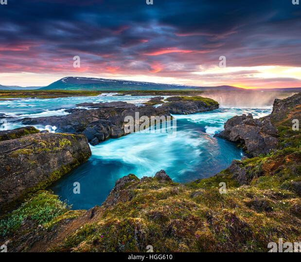 Summer morning scene on the Godafoss Waterfall. Colorful sunset on the on Skjalfandafljot river, Iceland,Europe. - Stock Image