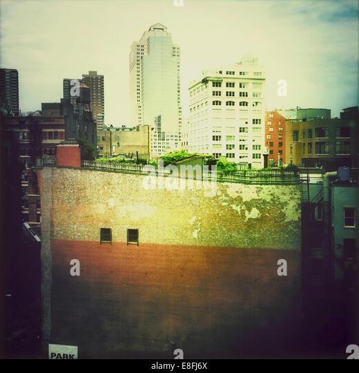 USA, New York State, New York City, Manhattan, Tribeca, Urban garden on roof - Stock Image