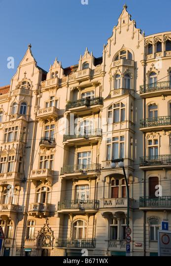 Art nouveau building prague - Stock Image