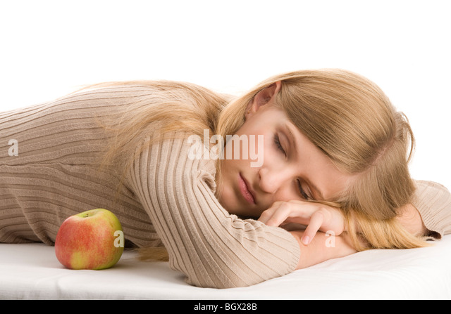 Portrait of beauty teenage girl sleeping - Stock Image