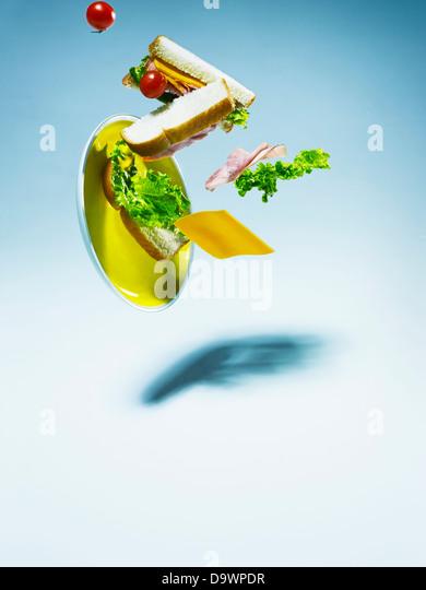 falling sandwich - Stock Image