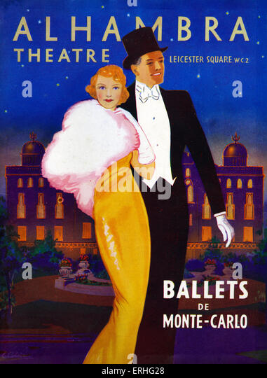 1930s couple in evening dress going out on the town - On cover of Programme for ballets de Monte Carlo at Alhambra - Stock Image