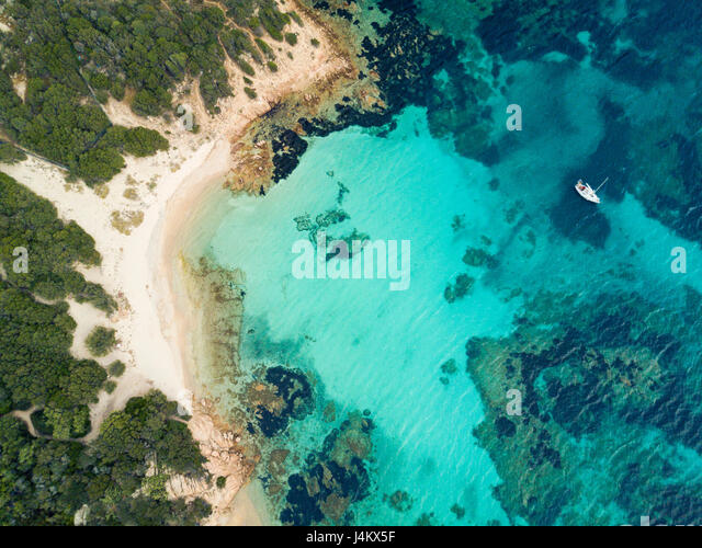 Aerial view of the Sardinian Emerald Coast, with its turquoise sea. Costa Smeralda in Sardinia Island, is one of - Stock Image