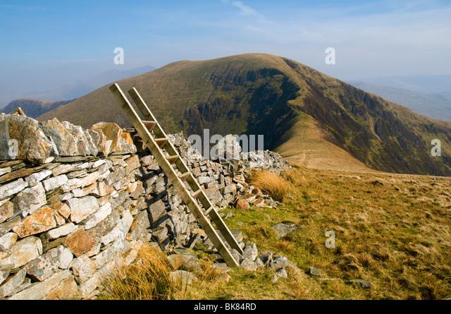 Trum y Ddysgl from Mynydd Tal-y-mignedd, Nantlle Ridge, Snowdonia, North Wales, UK - Stock Image