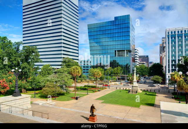 Skyline of downtown Columbia, South Carolina on Main Sreet. - Stock Image