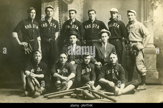Antique c1910 photograph, Kasota baseball team in Kasota, Minnesota. SOURCE: ORIGINAL PHOTOGRAPHIC PRINT. - Stock Image