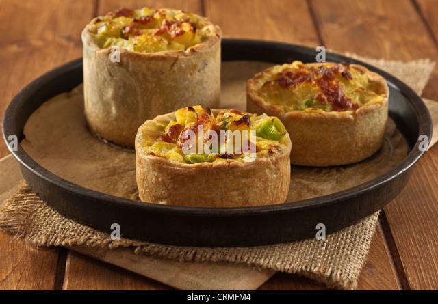 Homity pie Leek potato and cheese pie Traditional food UK - Stock Image