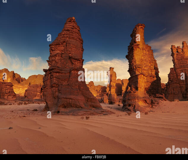 Rocks of Sahara Desert, Tassili N'Ajjer, Algeria - Stock Image