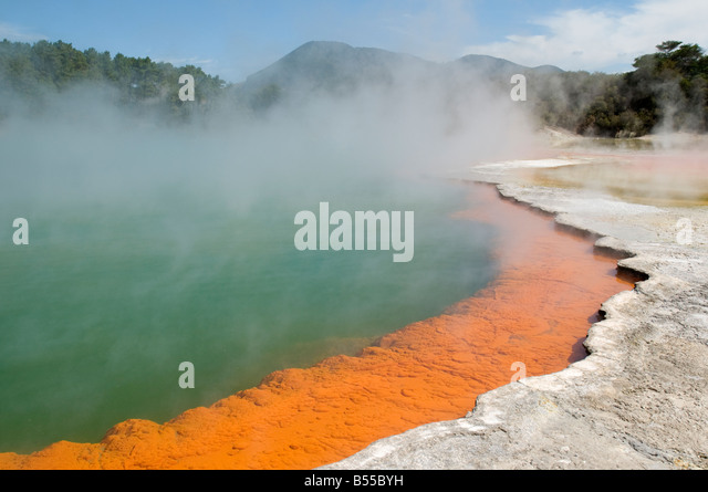The Champagne Pool geothermal spring at the Wai-O-Tapu thermal area, near Rotorua, North Island, New Zealand - Stock Image