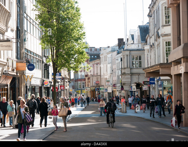 Exeter High Street in Britain - Stock Image