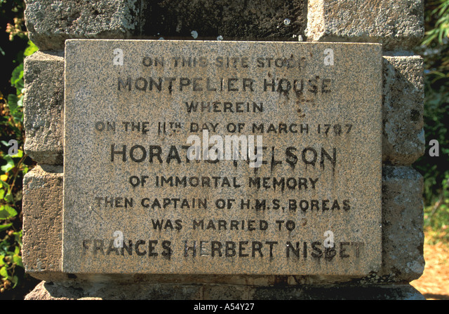 St Kitts and Nevis Nevis Marker where Lord Horatio Nelson Married Francis Nisbet - Stock Image