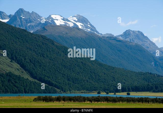 The Humboldt Mountains over Diamond Lake, Dart Valley, near Glenorchy, South Island, New Zealand - Stock Image