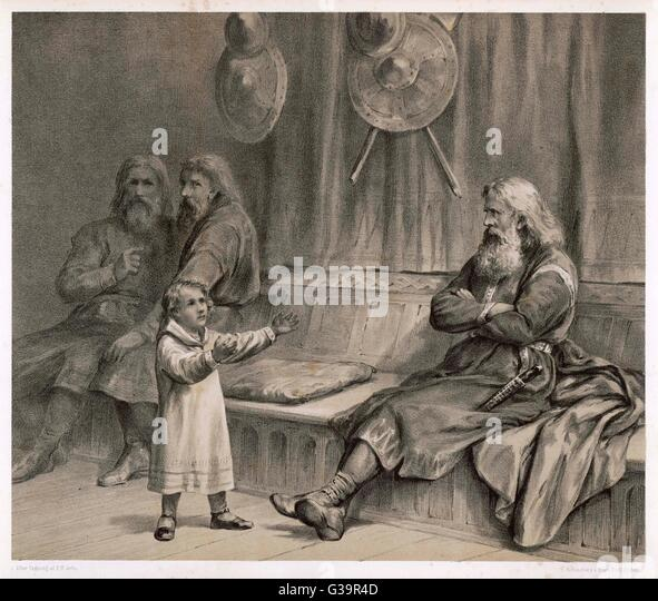 The 8 year old Haakon (later  Haakon IV) reassures the  retainer Helge that although  his patrimony has been  doubted, - Stock Image