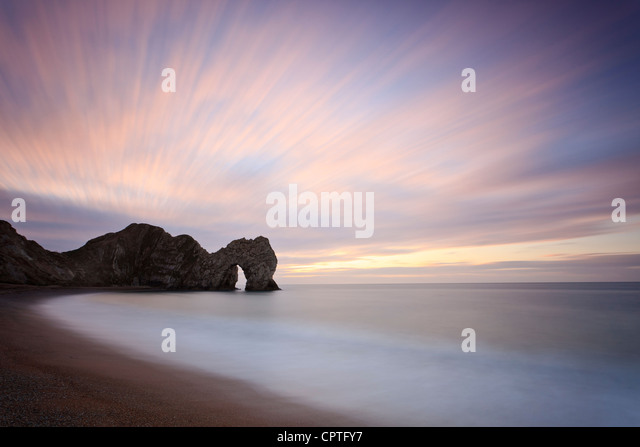 Winter sunrise at Durdle Door, Dorset, UK - Stock Image