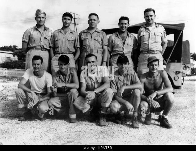 Boxcar Crew, Nagasaki Mission, 1945 - Stock Image