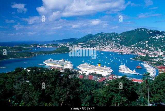 Cruise liners in Charlotte Amalie on St.Thomas Island, US Virgin Islands, Caribbean - Stock Image