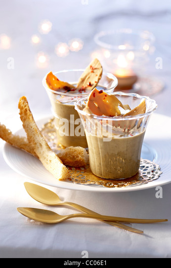 Lentils and Foie Gras in Glass Cup - Stock Image