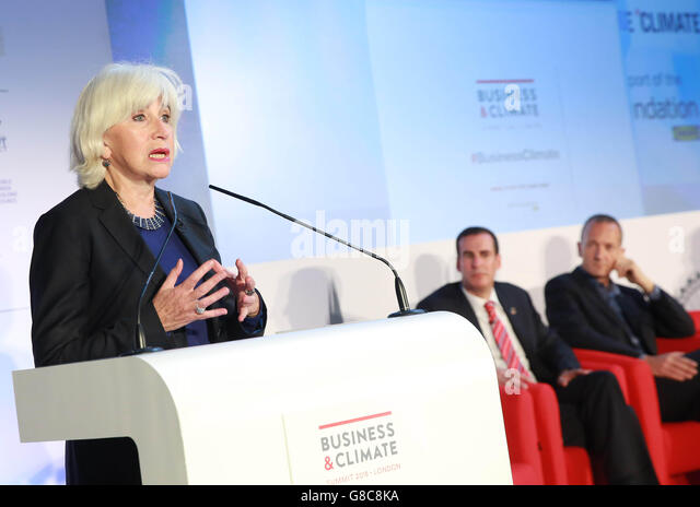 EDITORIAL USE ONLY Laurence Tubiana, Special Representative COP21, speaks at the Business & Climate Summit - Stock Image