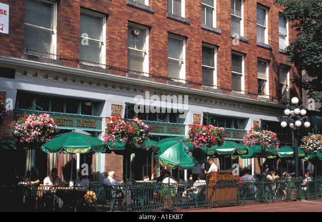 Vancouver Canada Gastown Dining Outdoor Restaurant - Stock Image