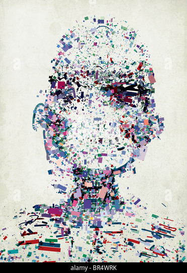 An abstract illustration of a persons head made up of a collection of colorful fragments - Stock Image