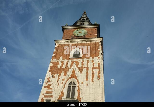The Town Hall Tower in Main Market Square (Rynek Główny) of the Old Town in Krakow, Poland, Central/Eastern - Stock Image