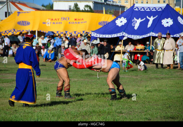 Wrestling, one of the three games of Nadaam at Moron. - Stock Image