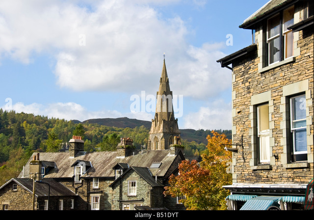 Lake District National Park St. Mary's Church ambleside skyline scenic landscape - Stock Image