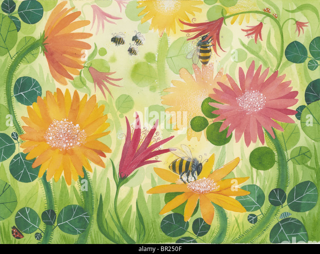 A picture of spring flowers with bees - Stock-Bilder