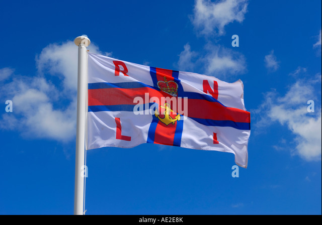 Royal National Lifeboat Institution RNLI flag at Cromer, Norfolk, UK - Stock Image