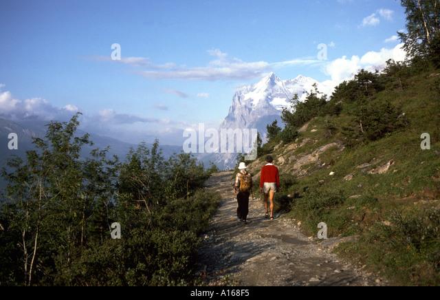 Walkers and the Wetterhorn, Bernese Oberland, Switzerland - Stock Image