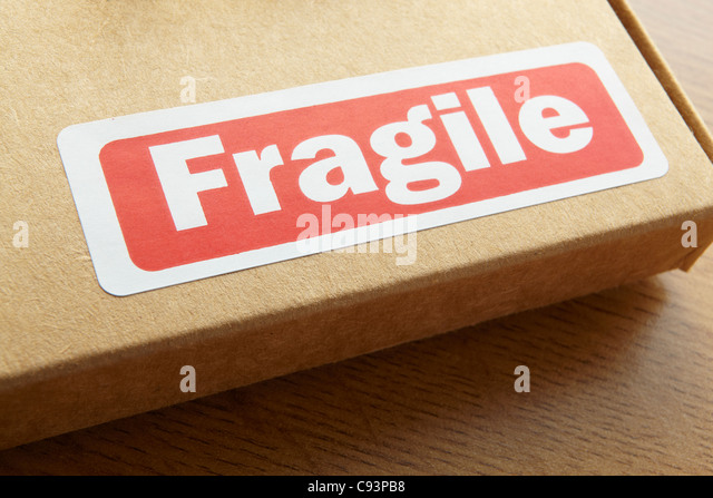 Fragile parcel for despatch - Stock Image