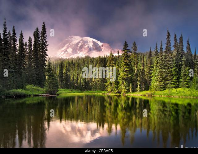 Reflection Lake with fog on Mt. Rainier. Mt. Rainier National Park, Washington - Stock Image