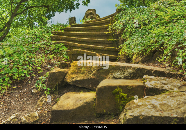 Detail photo of an old staircase, many steps - Stock-Bilder