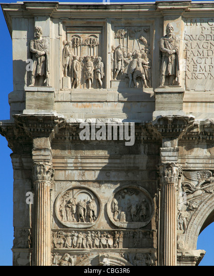 Italy, Lazio, Rome, Arco di Costantino, Triumphal Arch of Constantine, - Stock Image