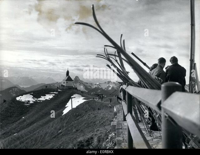 Dec. 12, 1958 - The first people to ski this year...could be seen last week-end on the Wallberg, a mountain near - Stock Image