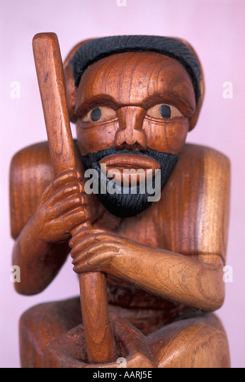 Jamaica Ocho Rios Wooden Carving of Man - Stock Image