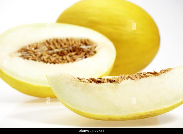 Yellow Canary melon, also yellow honeydew melon, Amarillo, Tendral Amarillo, sugar melon, Cucumis Melo, white background, - Stock Image