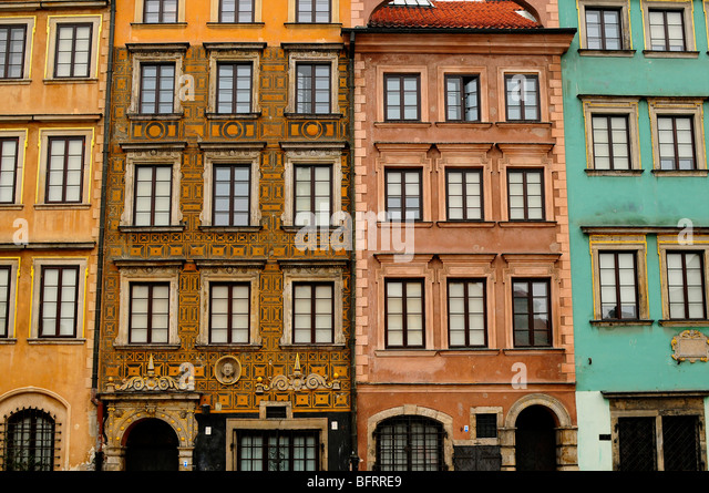 Buildings in the Old Town, Warsaw, Poland - Stock Image