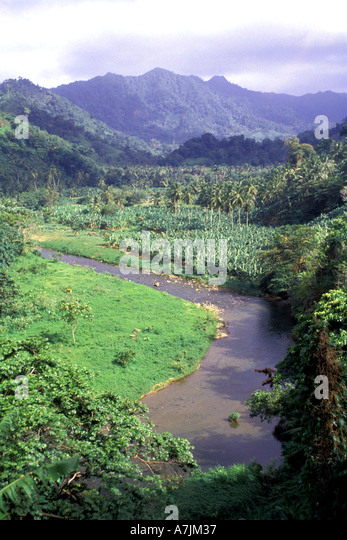 Dominica West Indies Caribbean Pagua River Mountains - Stock Image