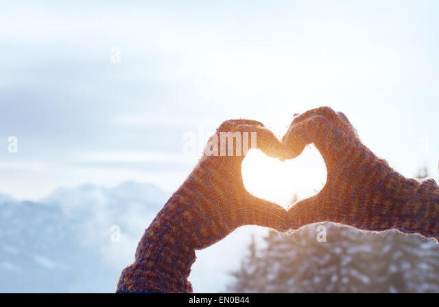 heart with hands, love winter concept - Stock Image