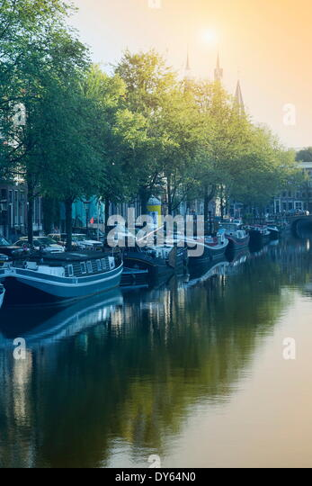 Canal, Amsterdam, The Netherlands, Europe - Stock Image