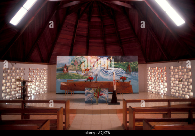 Dominica West Indies Caribbean Carib Reserve Territory Canoe Altar Catholic Church at Salybia - Stock Image