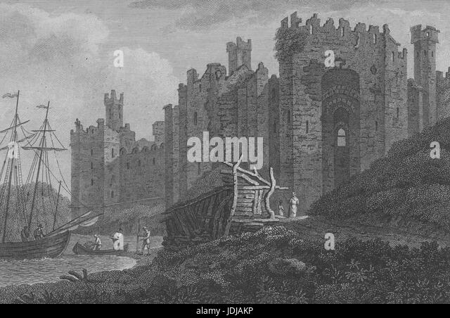 Engraving of the exterior of Caernarfon Castle, a medieval fortress in the town of Caernarfon, Wales, 1800. From - Stock Image